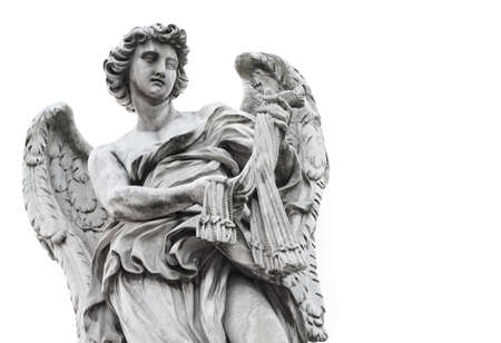 Statue of angel isolated on white background photo