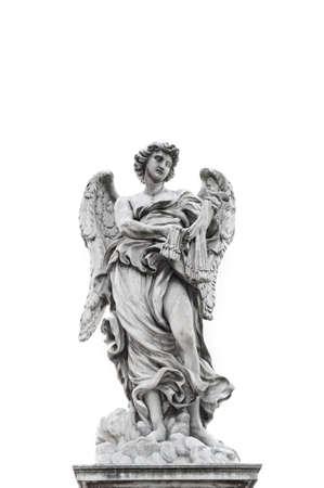 roman catholic: Statue of angel isolated on white background