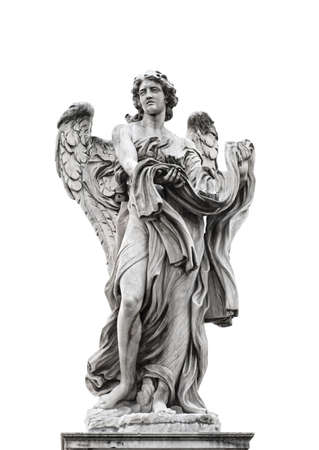 escultura romana: Estatua de �ngel aisladas sobre fondo blanco Foto de archivo