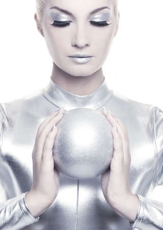 cyber woman: Beautiful cyber woman with silver ball
