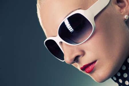 shades: Beautiful woman close-up portrait Stock Photo