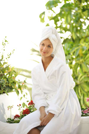 Young beautiful woman after bath  photo