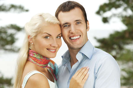 Attractive young couple outdoors photo