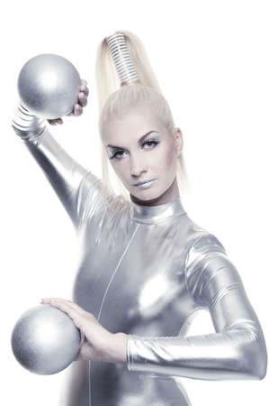 silver balls: Beautiful cyber woman with silver balls