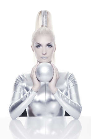 cyber girl: Beautiful cyber woman with silver ball