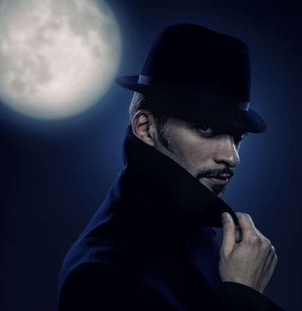 noir: Mysterious man retro portrait