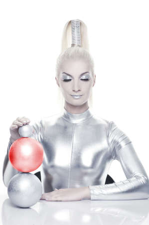 Beautiful cyber woman with balls      photo