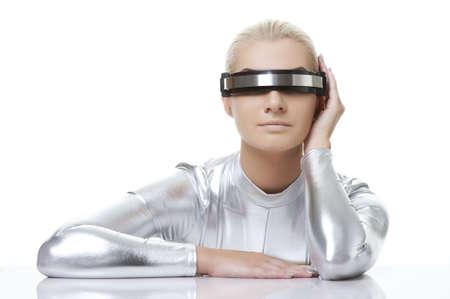 space robot: Beautiful cyber woman  Stock Photo