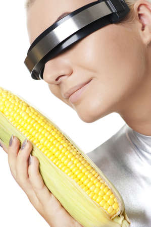 Cyber woman with a corn Stock Photo - 5714630