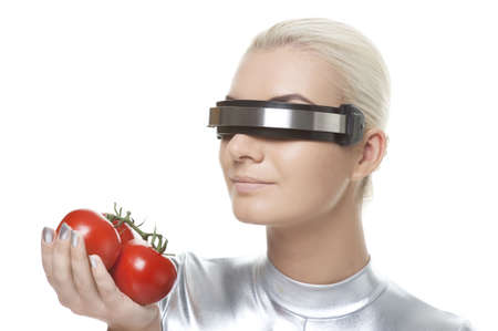 Cyber woman with tomatos photo