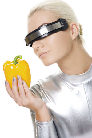 Cyber woman with sweet pepper Stock Photo - 5756531