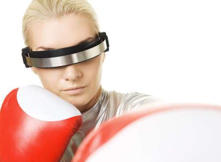 Cyber woman with a red boxing gloves photo