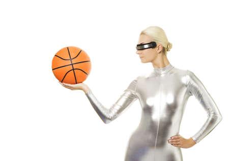 cyber girl: Beautiful cyber woman playing basketball
