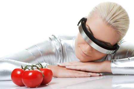 Cyber woman with tomatoes   Stock Photo - 5789026