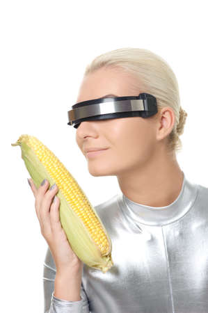 Cyber woman with a corn   Stock Photo - 5789154