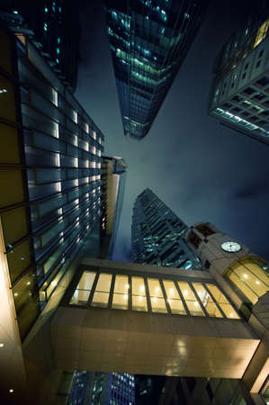 Modern skyscrapers at night time photo