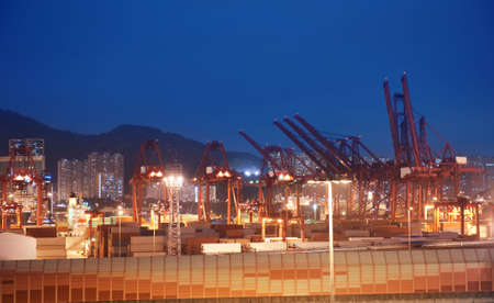 discharge time: View to the port at night