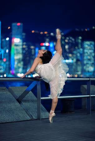 Beautiful ballet dancer outdoors    photo