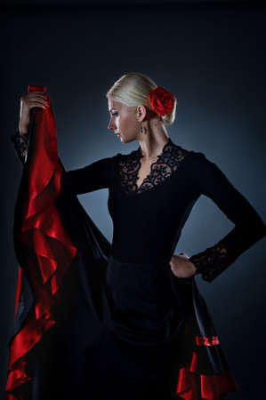 flamenco dress: Beautiful flamenco dancer Stock Photo