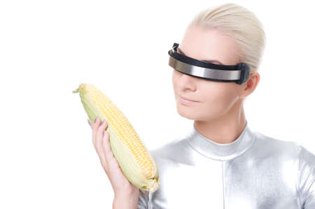 Cyber woman with a corn Stock Photo - 6088389