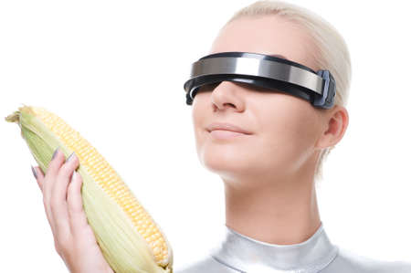 Cyber woman with a corn  photo