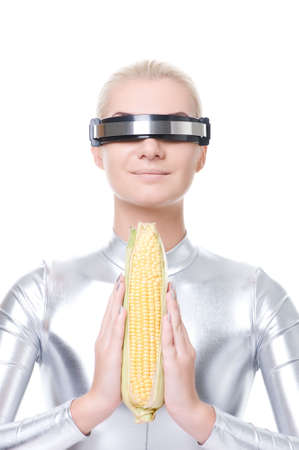 genetically: Cyber woman with a corn