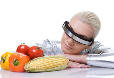 cyber woman: Attractive cyber woman with different vegetables