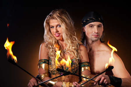 torches: Fire show with torches Stock Photo