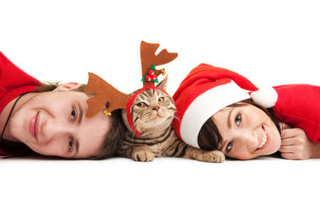 Happy couple with funny kitten photo