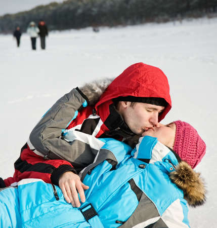 Lovely couple kissing outdoors Stock Photo - 6393647