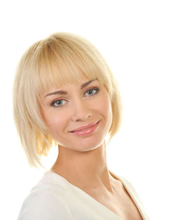 girl short hair: Beautiful blond woman