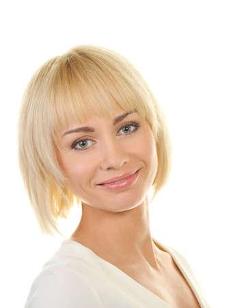 hair short: Hermosa mujer rubia Foto de archivo