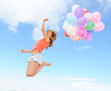 Happy girl with colorful balloons Imagens - 6477923