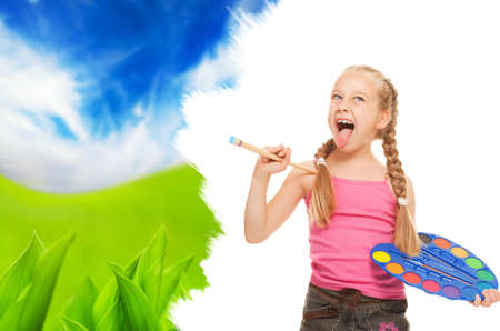 tavolozza pittore: Bambina bella pittura di paesaggio di natura