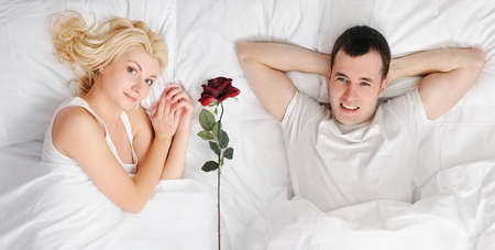 Happy couple at honeymoon photo