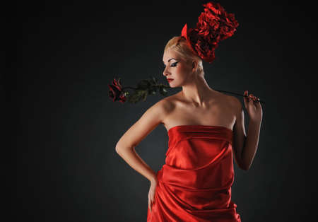 Beautiful lady with a rose Stock Photo - 6724598