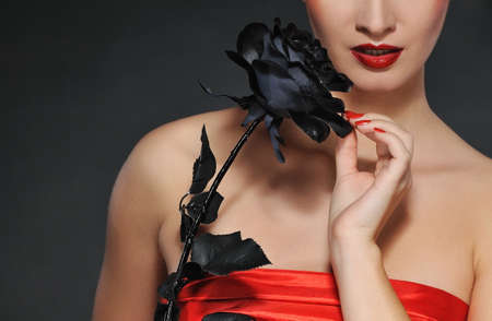Lady with black rose photo