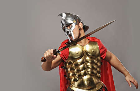 spartan: Legionary soldier ready for a fight Stock Photo