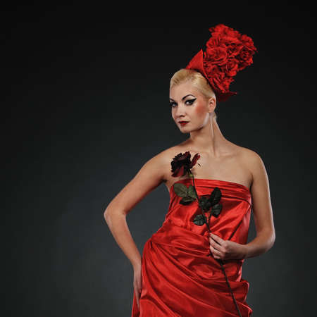 Beautiful lady with a red rose Stock Photo - 6745267