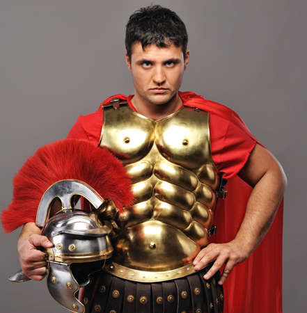 Portrait of a roman legionary soldier photo