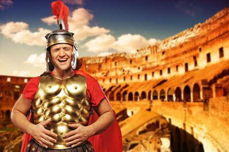 emporium: Roman legionary soldier in front of coliseum Stock Photo