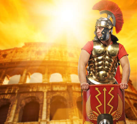 gladiator: Roman legionary soldier in front of coliseum Stock Photo