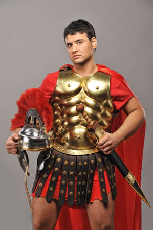 roman soldier: Portrait of a legionary soldier  Stock Photo