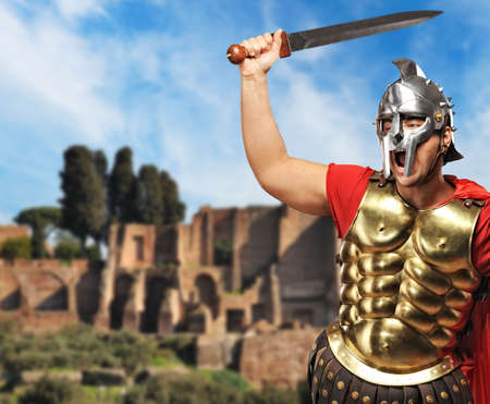 praetorian: Roman legionary soldier in front old city of Rome