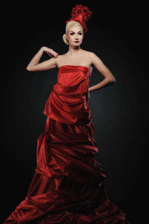 Beautiful lady in red dress  photo