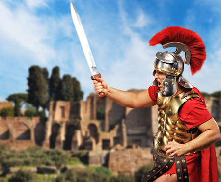 gladius: Roman legionary soldier in front old city of Rome