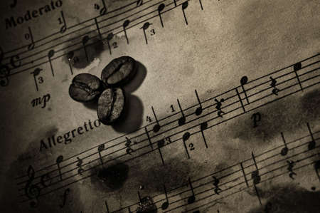 Coffee beans on a grungy musical background Stock Photo - 6851442
