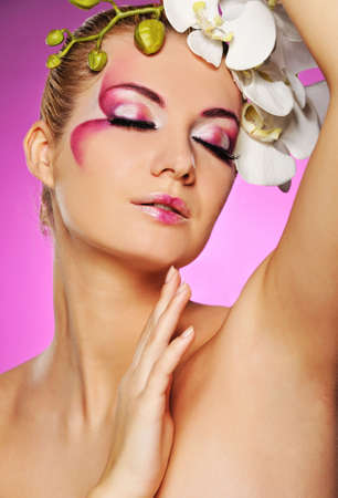 Beautiful woman with creative make-up   Stock Photo - 6881947