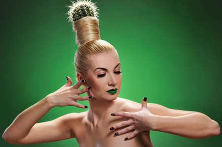 Woman with cactus in her hair Stock Photo - 6881954