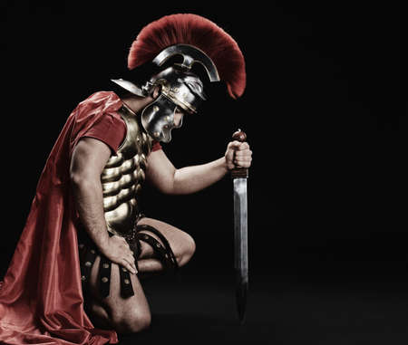 spartan: Portrait of a legionary soldier  Stock Photo